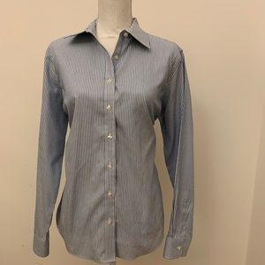 Lands End womens button up shirt sz 16 blue/white